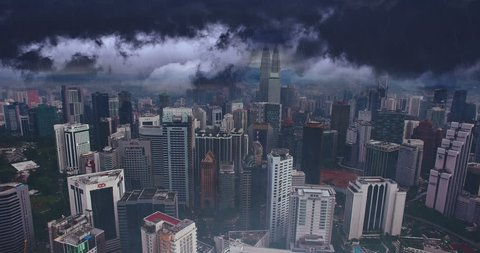 Cinematic style animation. Lightning strike and rain in Kuala Lumpur city. Aerial view of Malaysia capital. Flight above tall buildings. Raindrops on camera.