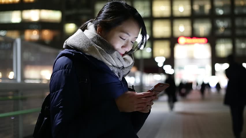 Woman using cellphone at night | Shutterstock HD Video #17899201