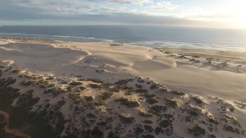 Aerial view of sand dunes and beach, Gnaraloo, Western Australia