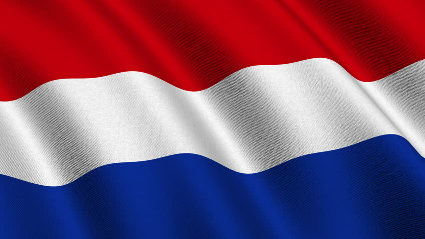 Flag of the Netherlands waving in the wind - highly detailed fabric texture - seamless looping
