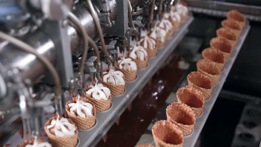 Ice cream automatic production line.