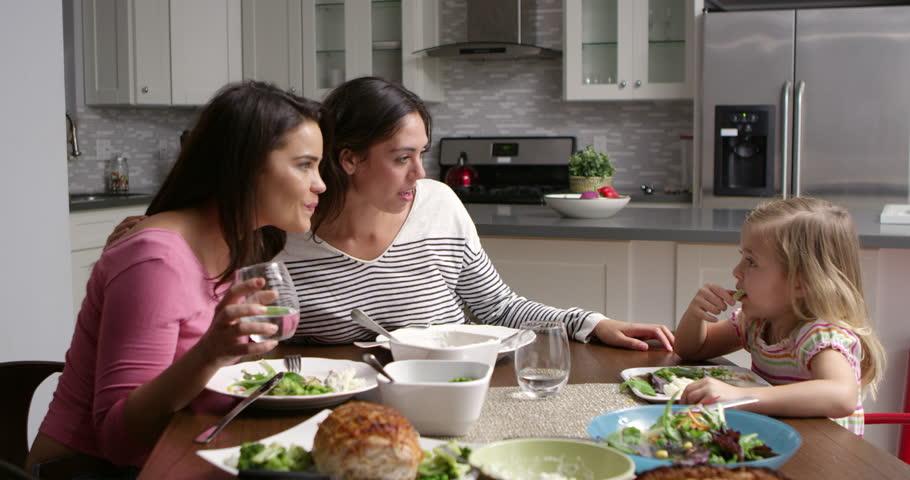 yummy ladies are having dinner and enjoying lesbian threesome  83823