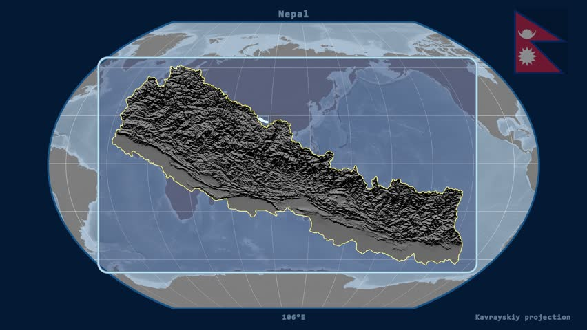 Zoomed-in view of a Nepal outline with perspective lines against a global elevation map in the Kavrayskiy VII projection