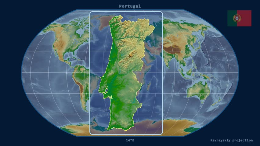 Portugal Map Stock Footage Video Shutterstock - Portugal globe map