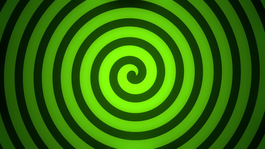 Black hypnotic spiral rotates on the glowing green background. Seamless loop. More color backgrounds available - check my portfolio.