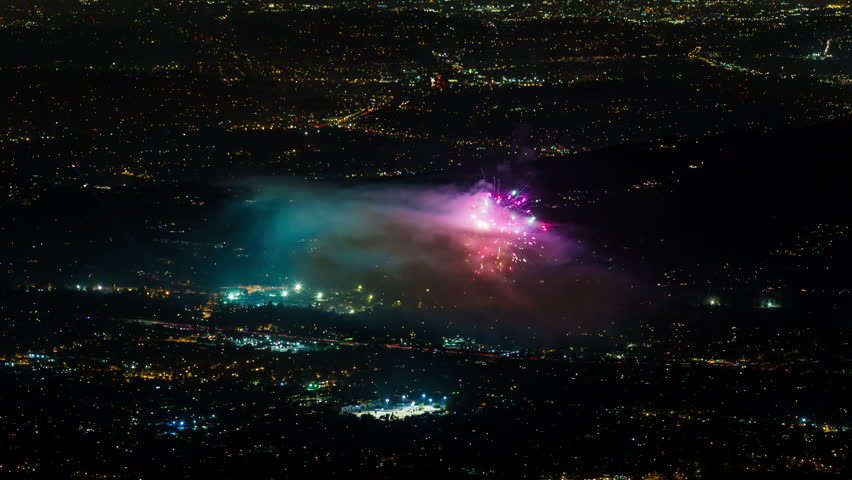 Rose Bowl Stadium, Los Angeles July 4th Firework Finale Timelapse #17958430