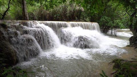 Cascade of Kuang Si waterfall (sometimes spelled Kuang Xi) or known as Tat Kuang Si Falls, South of Luang Prabang, Laos.