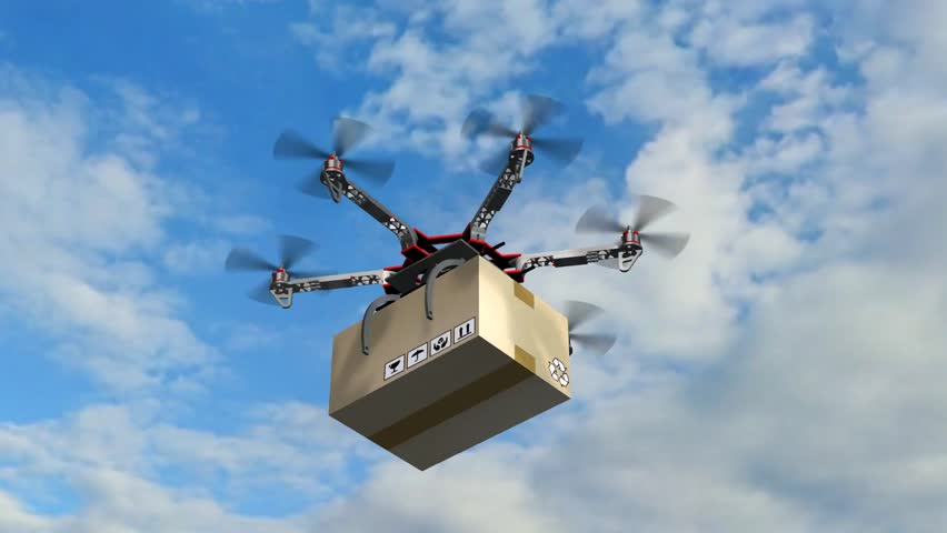Drone Hexacopter delivers a package | Shutterstock HD Video #17977600