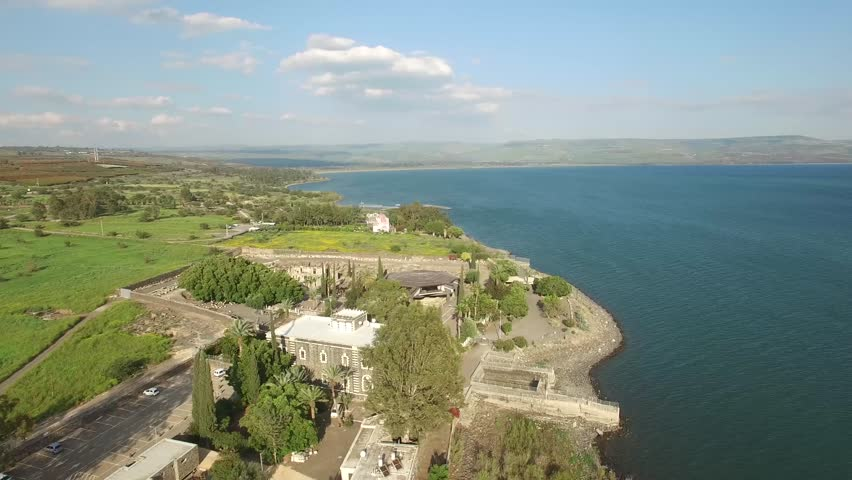 Capernaum - Greek Orthodox Monastery - Lake Kinneret Capernaum  is one of the most beautiful places in North of Israel. We have captured it during the best season, so you can enjoy the perfect view. | Shutterstock HD Video #17992960