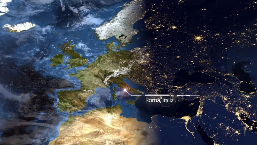 Europe World Map Timelapse Establishing GPS Technology Satellite - World map satellite picture