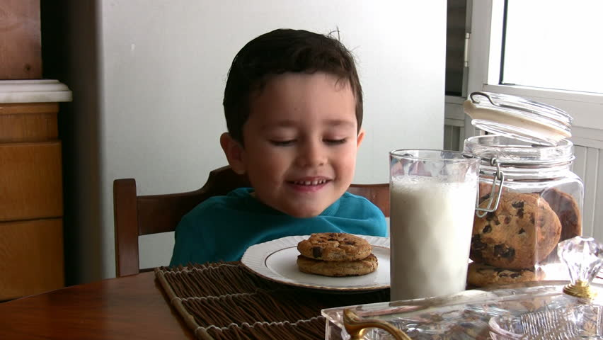 Little Boy and his  yummy chocolate chip cookies