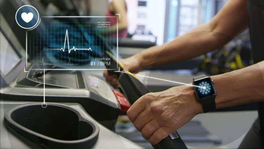 Woman starting workout on treadmill using fitness app. Augmented Reality Interface Shows Health Data