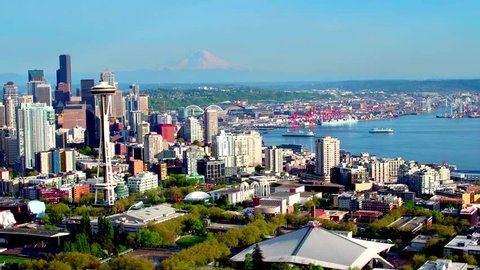 Aerial view of Seattle with Mount Rainier in background 4