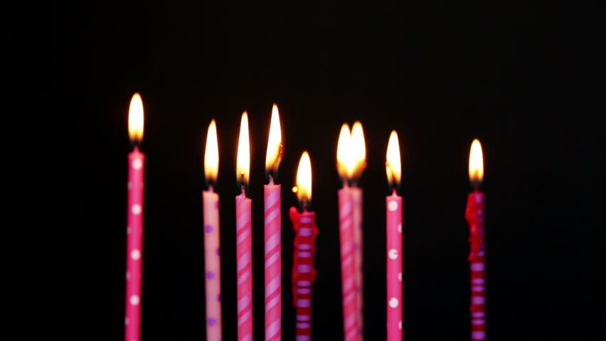 Happy Birthday Candles 9 Year Blurred And Blow Out