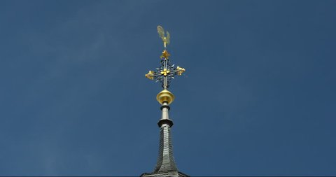 Steeple with weathercock in gold, Speyer, Germany