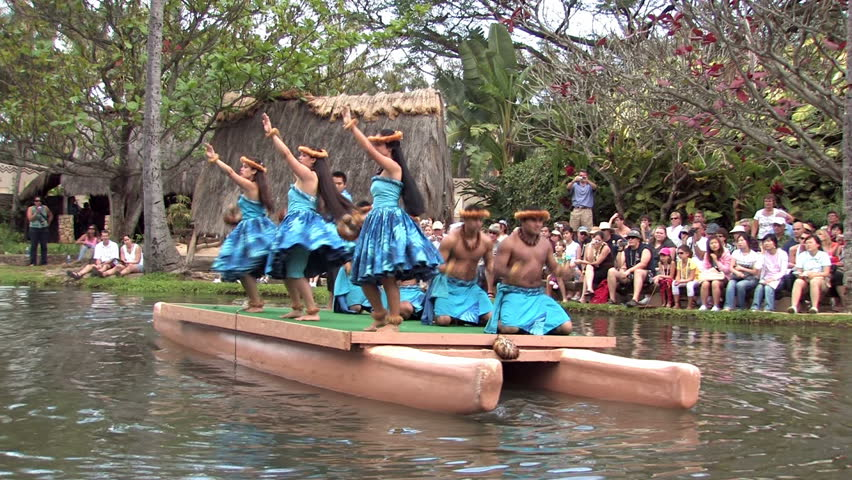 LAIE, OAHU HAWAII CIRCA Feb 2008: BYU college students perform native cultural dances on canoes to earn money for tuition in Laie Hawaii. Number one paid tourist attraction in Hawaii.
