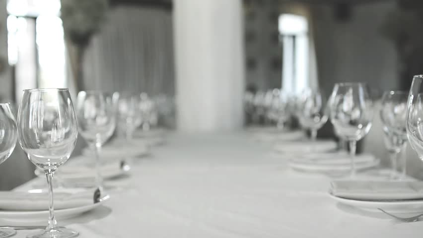 Banquet dinner. Elegant Wedding Table with Glass | Shutterstock HD Video #18106780