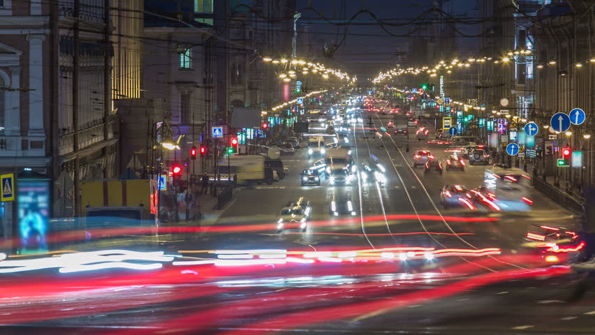 Night traffic at Liteyny prospekt timelapse in Saint Petersburg, Russia