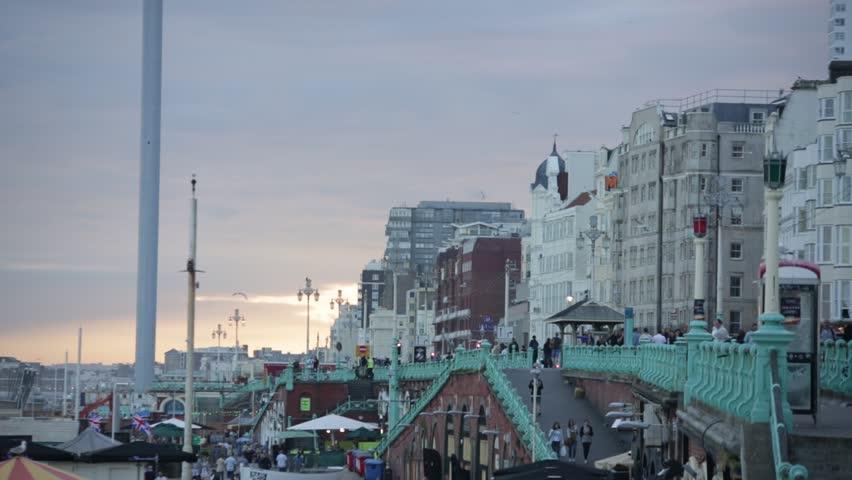 Sunset on Brighton promenade  | Shutterstock HD Video #18132670