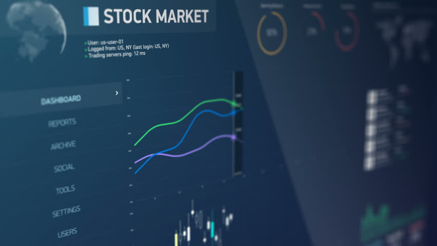 Stock market situation watch, global financial statistics on screen, analysis. Electronic chart with stock market fluctuations, summary, annual reports, analysis