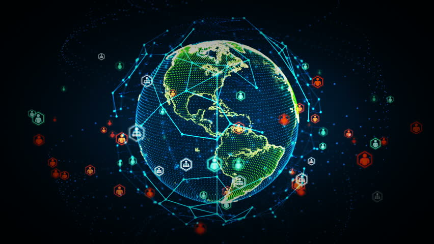 4K Digital World Networks of People Color - A rendering of the earth conveying the digital age and global connectivity. This clip is available in multiple color options and loops seamlessly. | Shutterstock HD Video #18201910