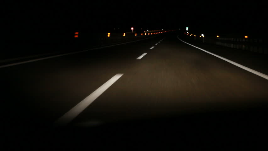 Driving on highway at night