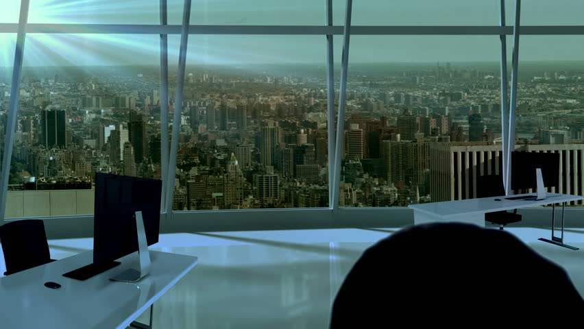 Businesswoman In Office With Animated Stock Footage Video 100
