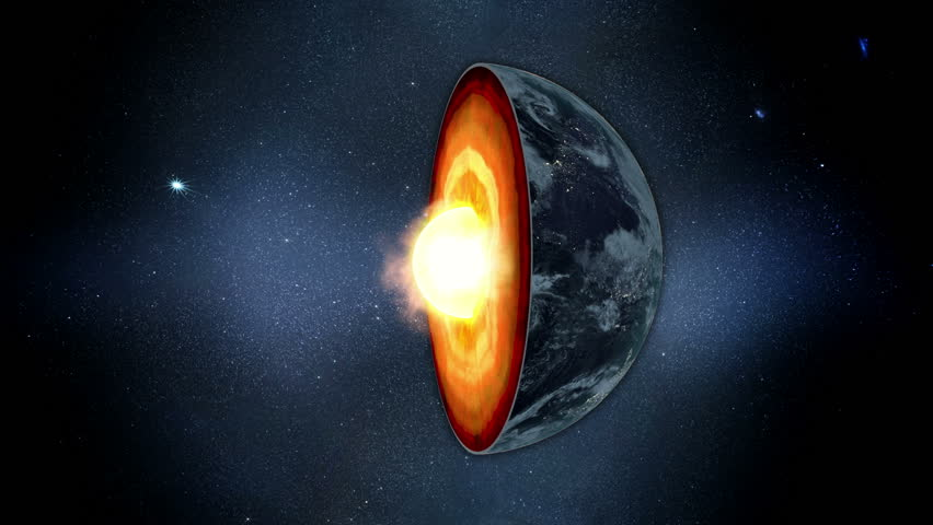 Earth core. inner structure with geological layers. Realistic 3d animation