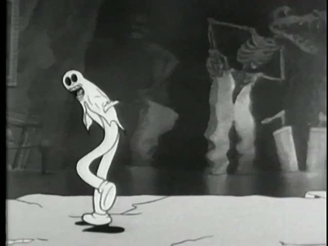 Cartoon of break dancing ghost