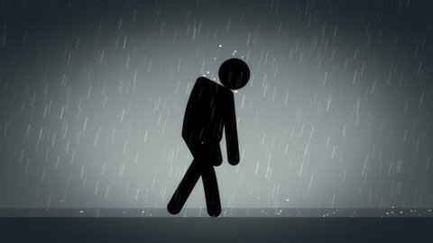 Male stick figure character walking in rain feeling depressed. 25 fps seamless loop cycle, silhouette luma matte included.