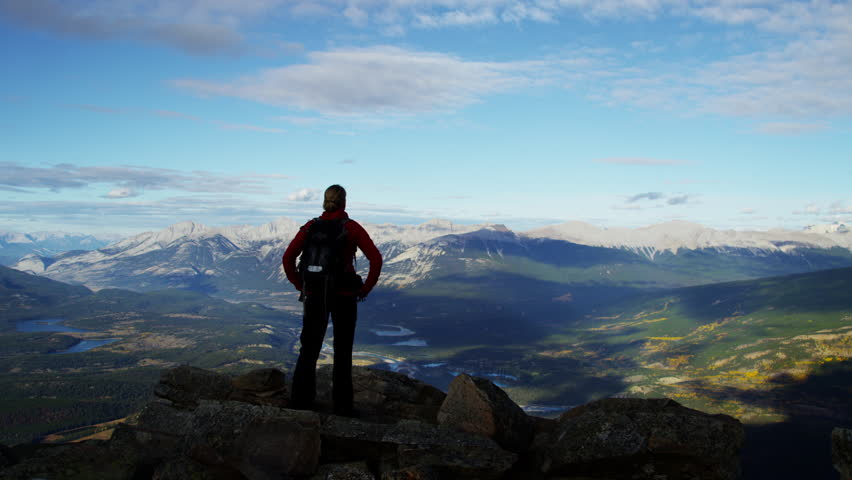Young female hiking outdoor in Canadian Rockies #18304210