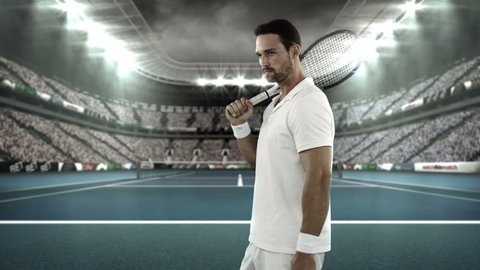 Portrait of tennis player standing with racquet on tennis court in stadium