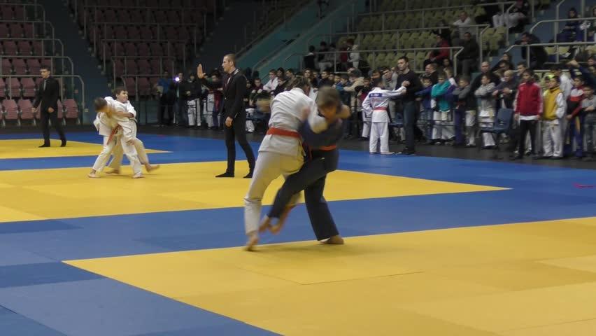 Orenburg, Russia - 5 February 2016: Girls compete in judo at the Championship of the Orenburg region