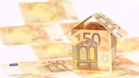 House made of Euros is blown away