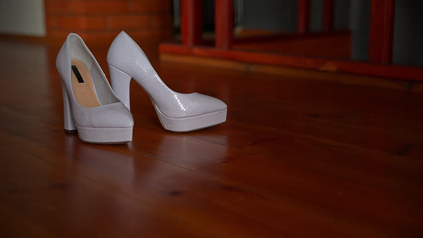 14d6a91e774 Womens White High-heeled Shoes Stand Stock Footage Video (100 ...