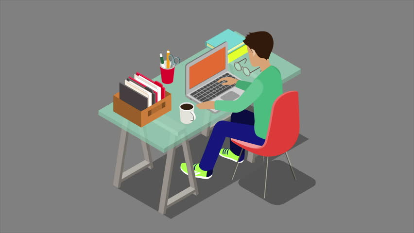 Modern workplace workplace flat 3d isometric concept 4K video with alpha. Animated young worker sitting at desk with laptop.