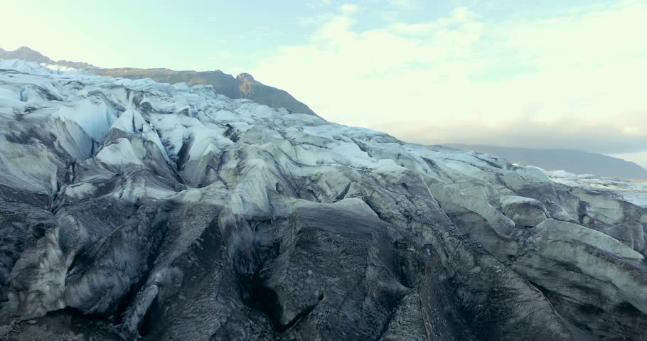 Smooth aerial shot of Flaajokull Glacier in Iceland
