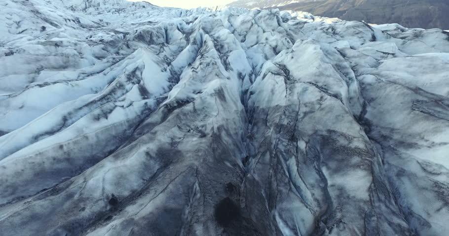 Slow aerial shot over Iceland glacier