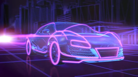 Abstract animation of a futuristic blue car with red highlights in 4K UHD