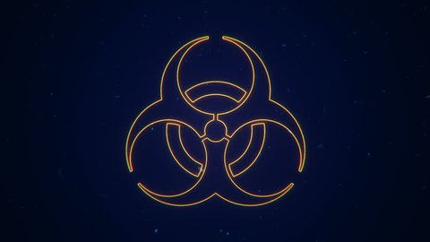 Animation of fire or flow energy from nuclear and biohazard symbols. Animation of seamless loop.