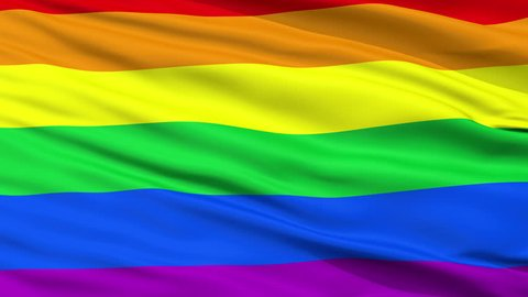 Gay Flag, Close Up Realistic 3D Animation, Seamless Loop - 10 Seconds Long