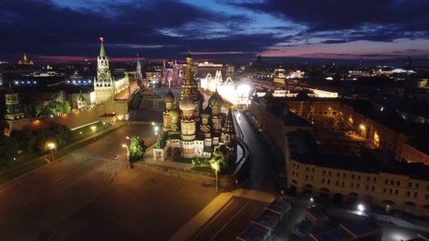 Saint Basil's Cathedral flight around. Best unique night flight close to Moscow Kremlin and Red Square. Evening embankment road traffic. City illumination. 4k footage. Aerial drone quadcopter.