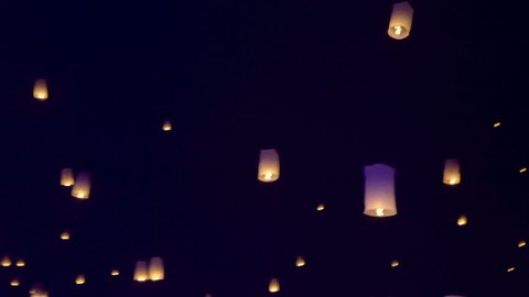 Thousands of sky lanterns are released into the night sky to wish for good luck as part of a lantern festival.
