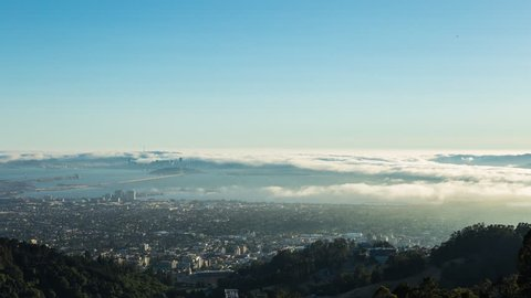 San Francisco Fog Day To Night Sunset Timelapse from Berkeley Overlook