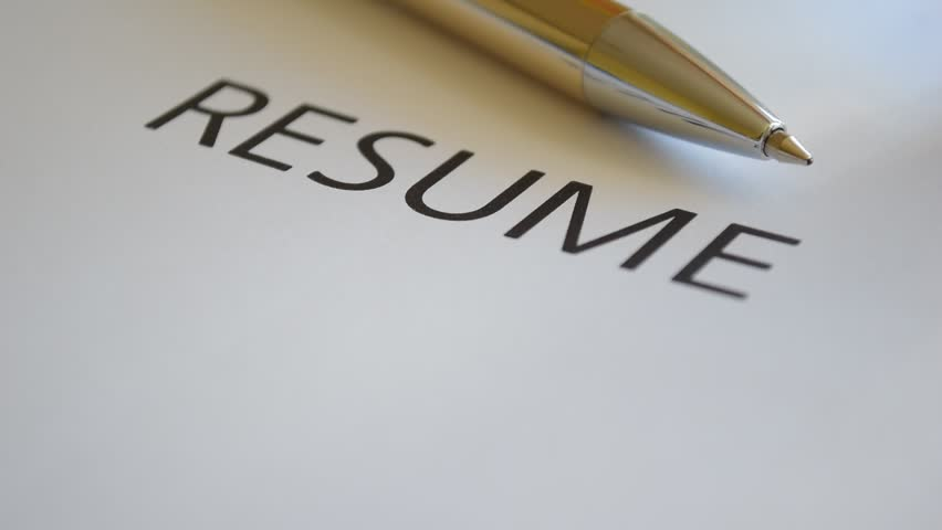 Resume Title Printed At The Stock Footage Video 100 Royalty Free