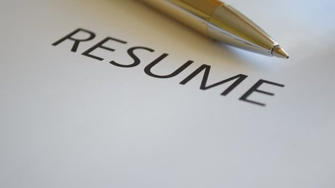 resume title printed at the white paper job search concept