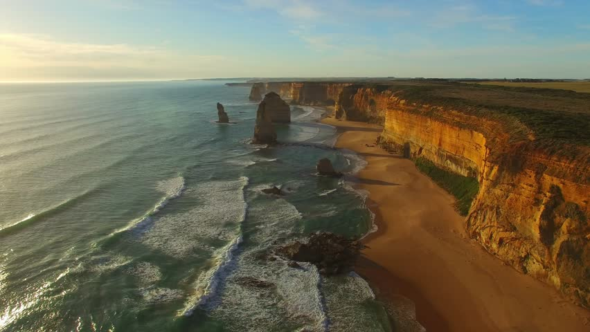 Twelve Apostles at sunset, aerial view of Australian Coast.