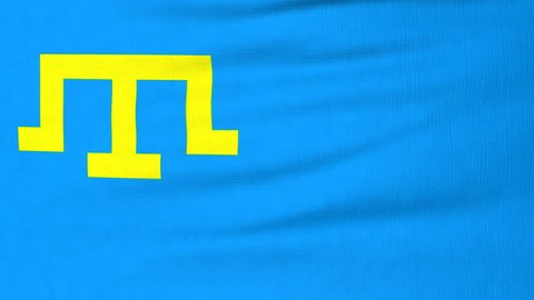 National flag of Crimean Tatar flying and waving on the wind. Sate symbol of Crimean Tatars nation and government. Computer generated animation.