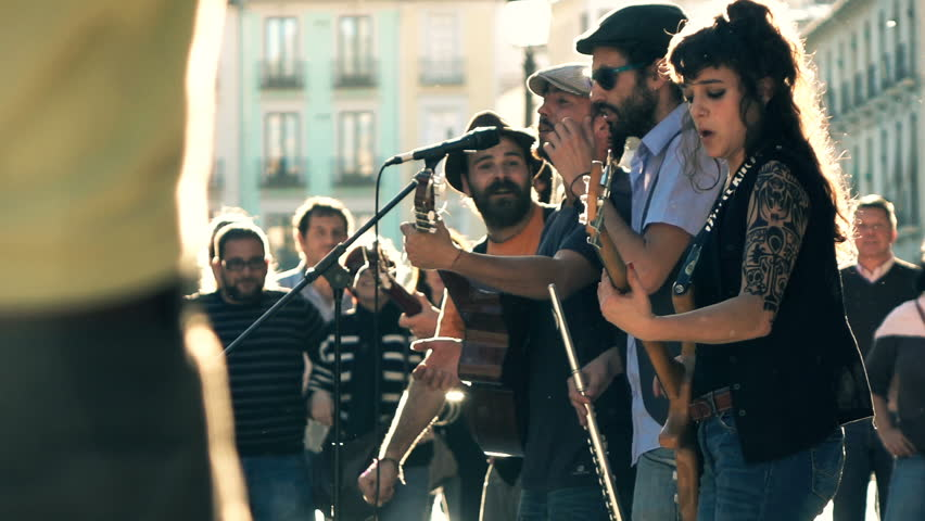 10.10.2016 RONDA, SPAIN: Band playing concert for people in city, super slow motion 240fps