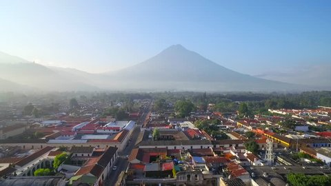 Beautiful aerial shot over the colonial Central American city of Antigua, Guatemala. (Antigua, Guatemala 2010s)